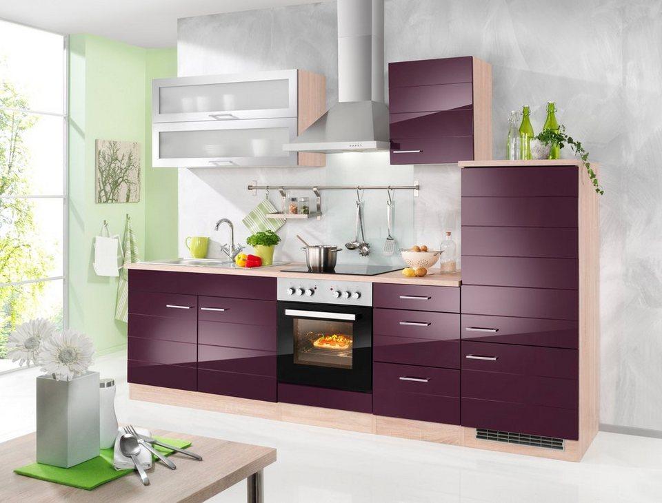 Held Möbel Küchenzeile »Emden«, inkl. E-Geräte, Breite 270 cm in auberginefarben/eichefarben