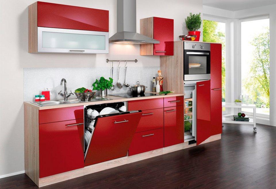 Wiho Küchen Küchenzeile Mit E Geräten Montana Glanz Breite 300 Cm