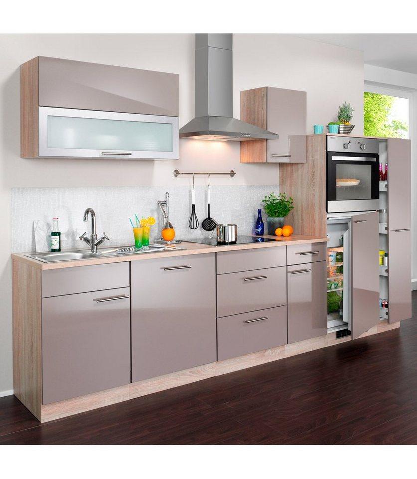 Küchenzeile mit E-Geräten »Montana Glanz, Breite 300 cm« in trüffelfarben