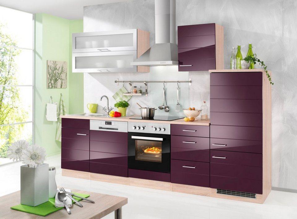 Küchenzeile ohne E-Geräte »Emden«, Breite 280 cm in auberginefarben/eichefarben