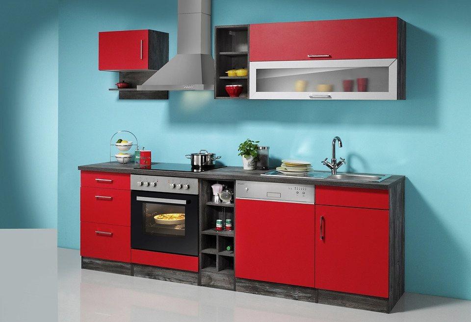 Held Möbel Küchenzeile »Sevilla«, mit Elektrogeräten, Breite 250 cm in rot/eichefarben vintage