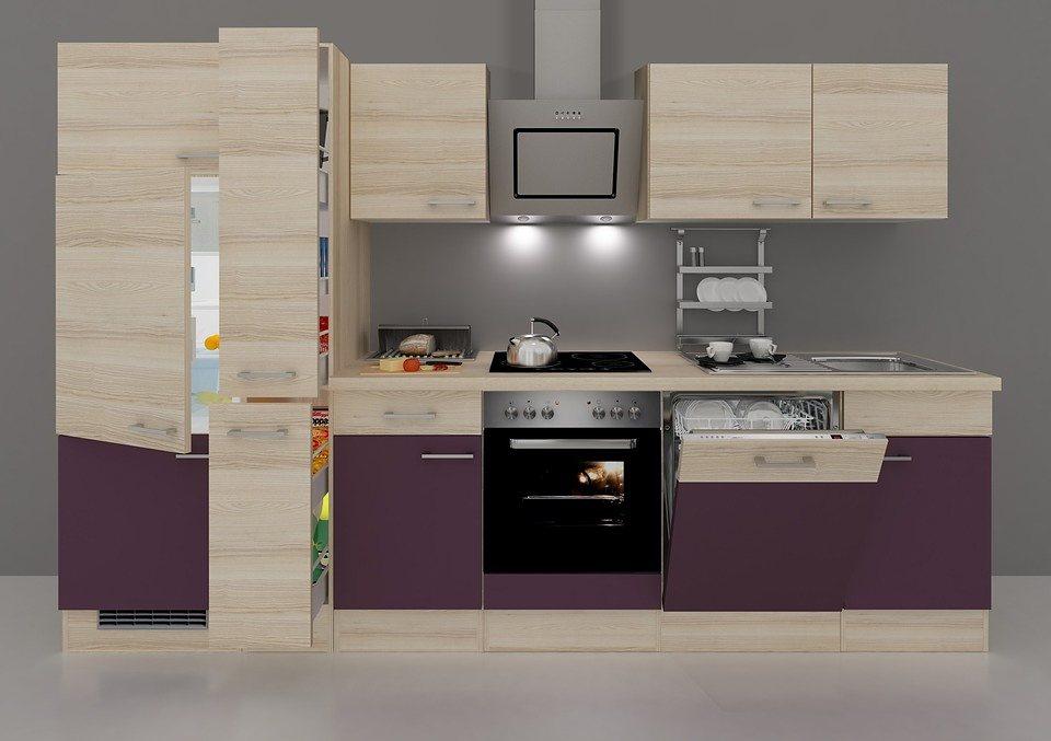 Küchenzeile mit E-Geräten »Portland«, Breite 310 cm in auberginefarben/akaziefarben