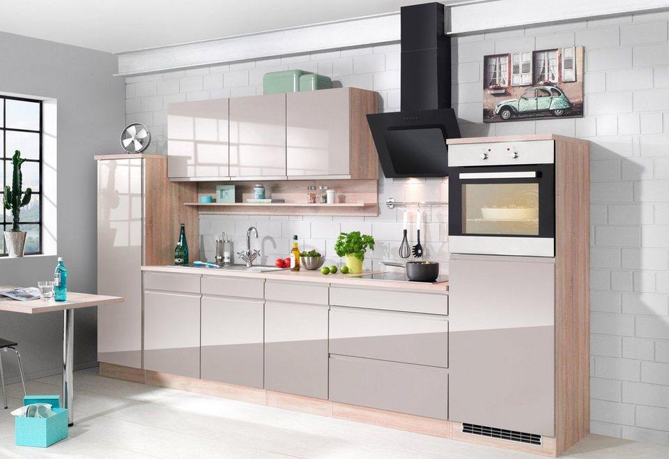 Held Möbel Küchenzeile inkl. E-Geräte »Virginia«, Breite 290 cm in grau/eichefarben
