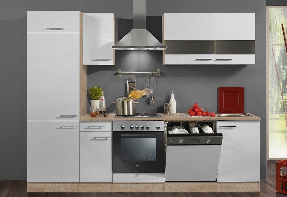 Optifit Küchenzeile mit E-Geräten »Dakar«, Breite 270 cm in eichefarben/weiß
