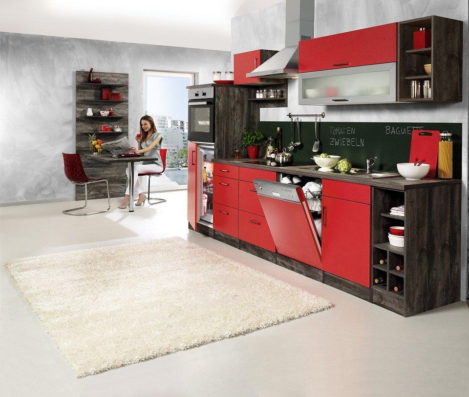 Held Möbel Küchenzeile »Sevilla«, mit Elektrogeräten, Breite 310 cm in rot/eichefarben vintage