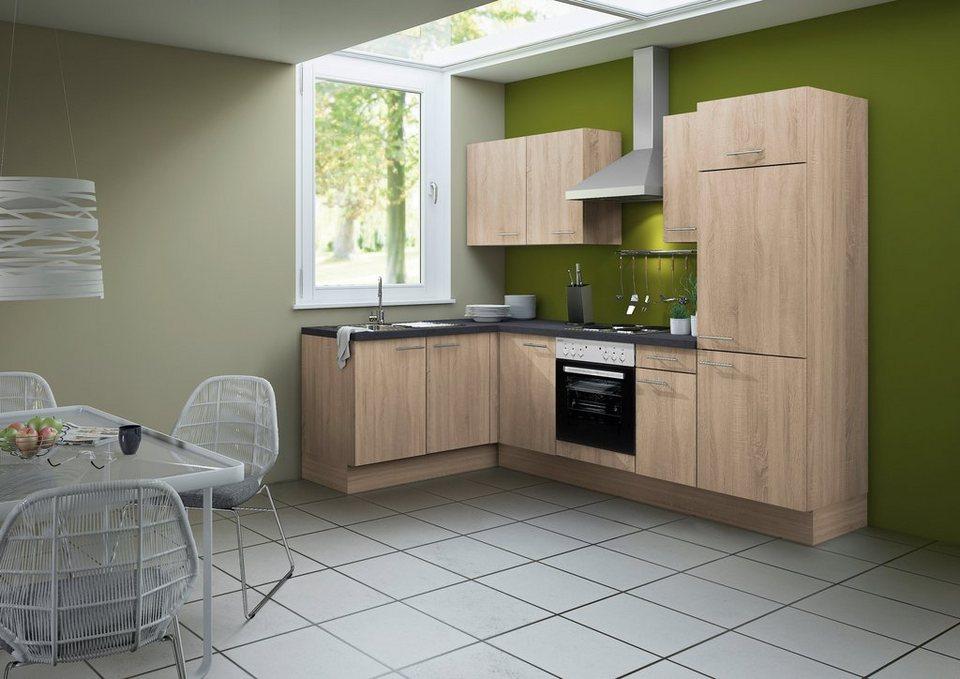Optifit Küchenzeile mit E-Geräten »Lasse«, Breite 270 cm - Set 1 in eichefarben sägerau