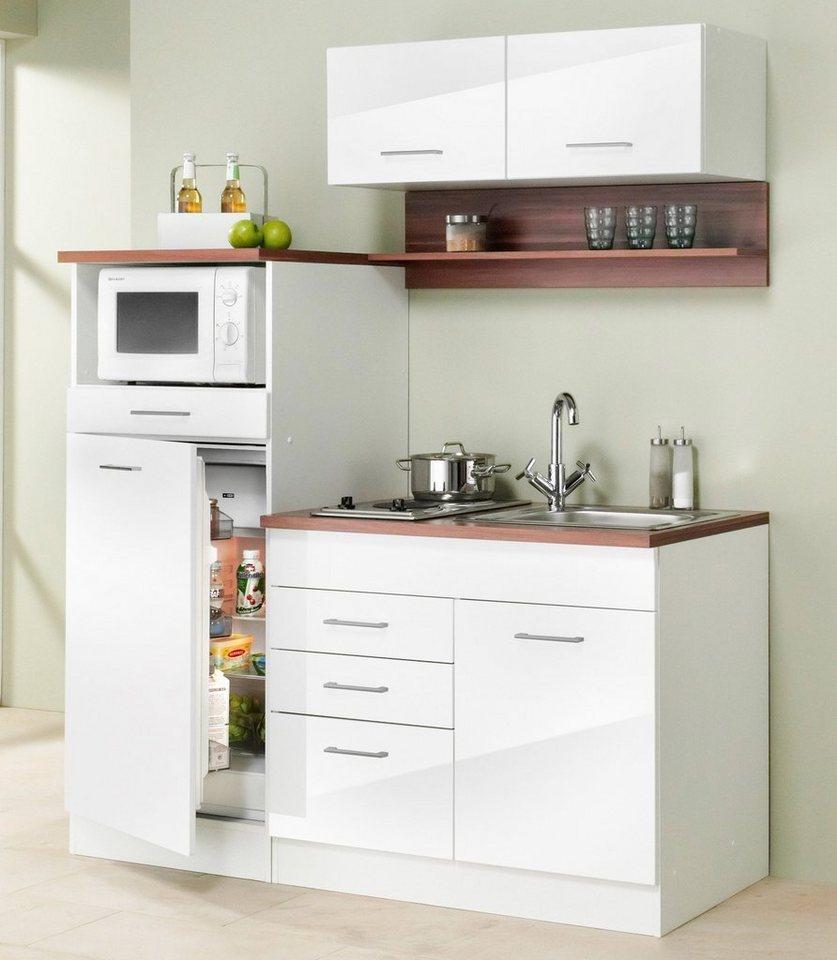 Miniküche »Monaco«,inkl. E-Geräte, Breite 160 cm in nussbaumfarben/weiß
