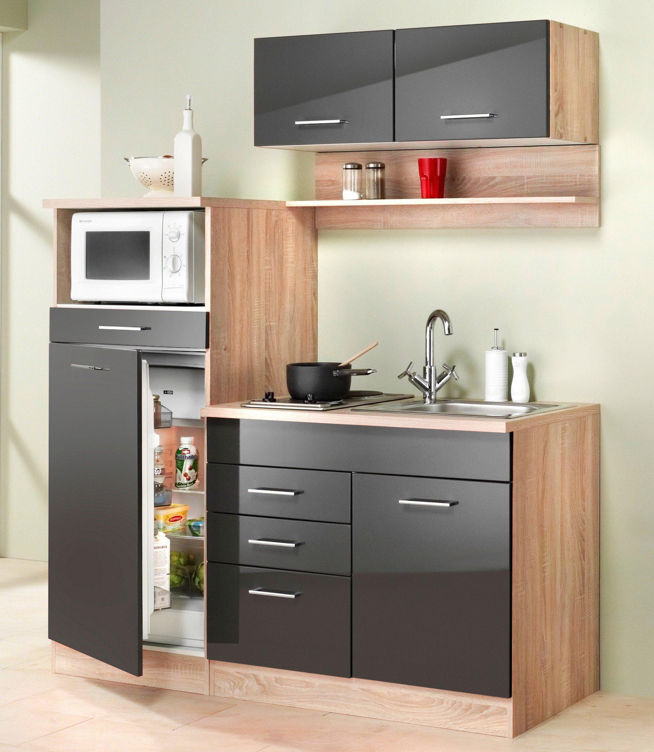 HELD MÖBEL Miniküche »Breite 160 cm«   Küche und Esszimmer > Küchen > Miniküchen   Weiß - Hochglanz - Hochglänzend   Hochglanz - Nussbaum - Eiche - Holzwerkstoff - Mdf - Hochglänzend - Metall   HELD MÖBEL