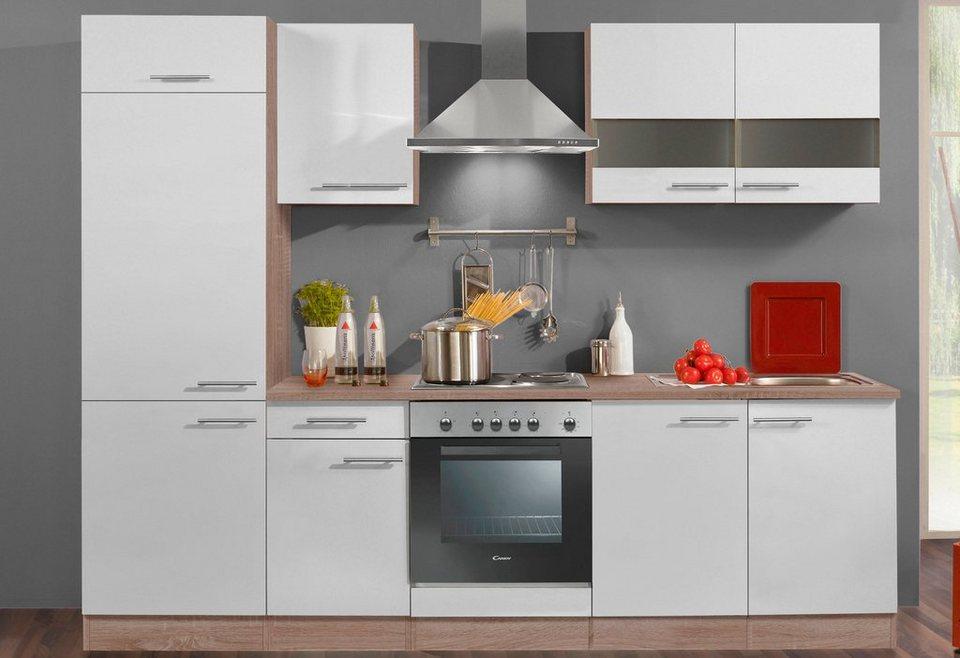 Küchenzeile mit E-Geräten »Dakar«, Breite 270 cm in eichefarben/weiß