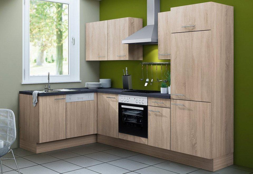 Küchenzeile mit E-Geräten »Lasse«, Breite 270 cm - Set 2 in eichefarben sägerau