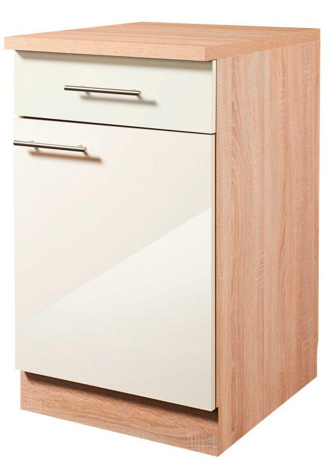 Küchenunterschrank »Montana Glanz«, Breite 50 cm in cremefarben/eichefarben sonoma