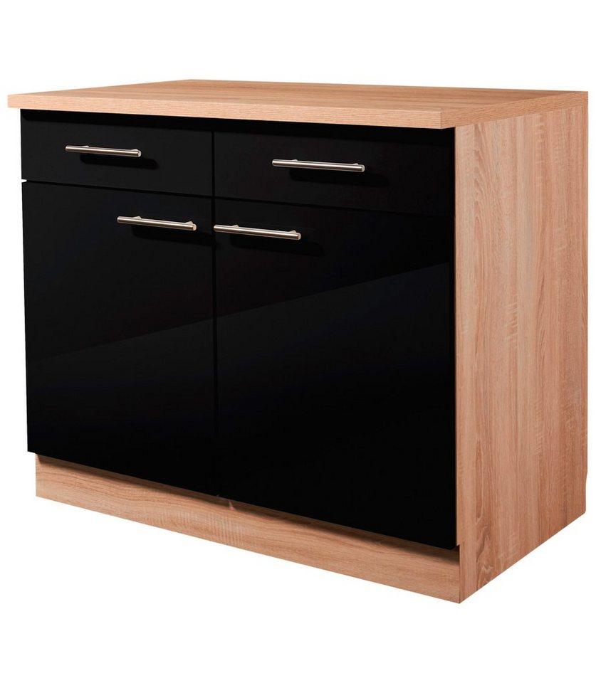 Wiho Küchen Küchenunterschrank »Montana Glanz«, Breite 100 cm ... | {Küchen unterschrank schwarz 26}