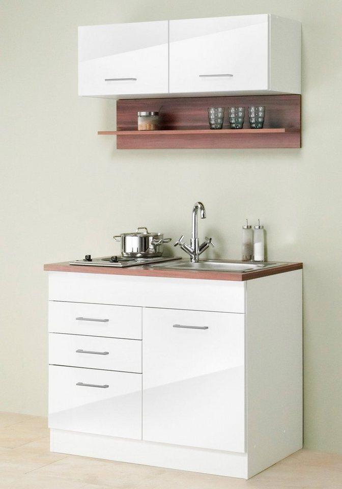 Held Möbel Miniküche »Monaco«,inkl. E-Geräte, Breite 100 cm in nussbaumfarben/weiß