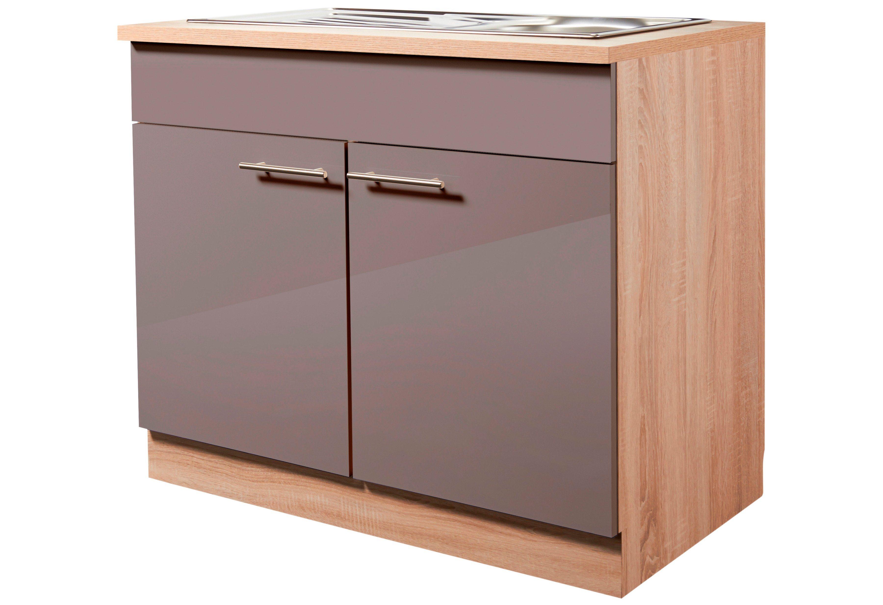 Wiho Küchen Spülenschrank »Montana Glanz«, | Küche und Esszimmer > Küchenschränke > Spülenschränke | Eiche - Holzwerkstoff | wiho Küchen