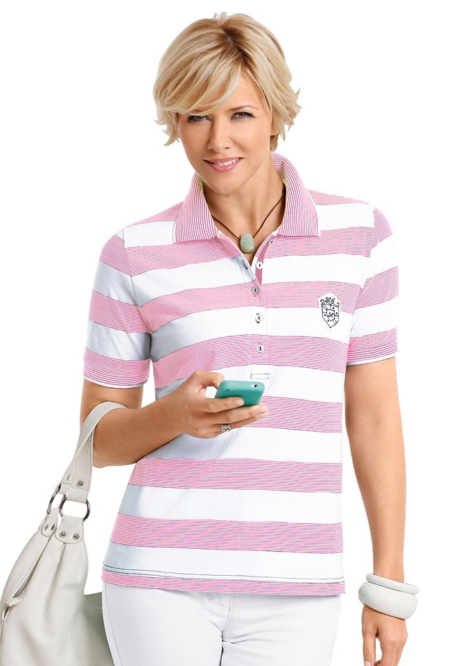 Collection L. Poloshirt in rosé-weiß-gestreift