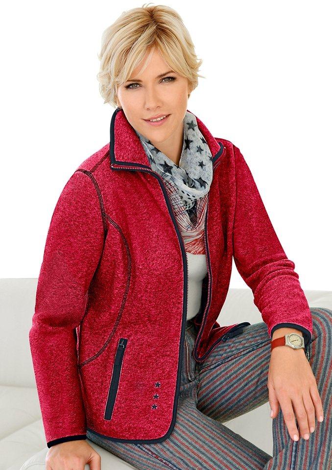 Collection L. Fleece-Jacke mit Antipilling-Ausrüstung in rot