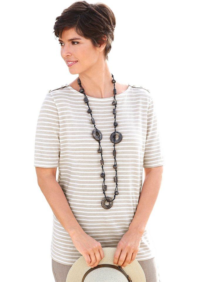 Collection L. Shirt aus reiner Baumwolle in stein-gestreift