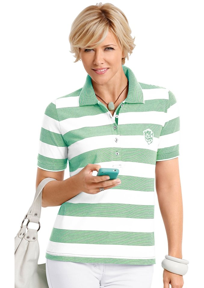 Collection L. Poloshirt in mint-weiß-gestreift