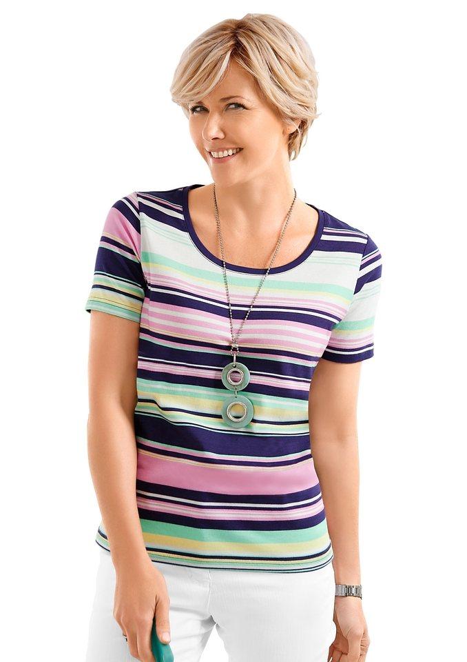 Collection L. Shirt aus reiner Baumwolle in rosé-marine-gestreift