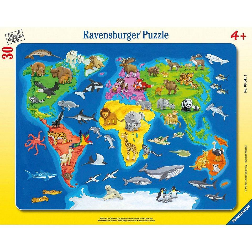 Ravensburger Rahmenpuzzle 30 Teile - Weltkarte mit Tieren online ...
