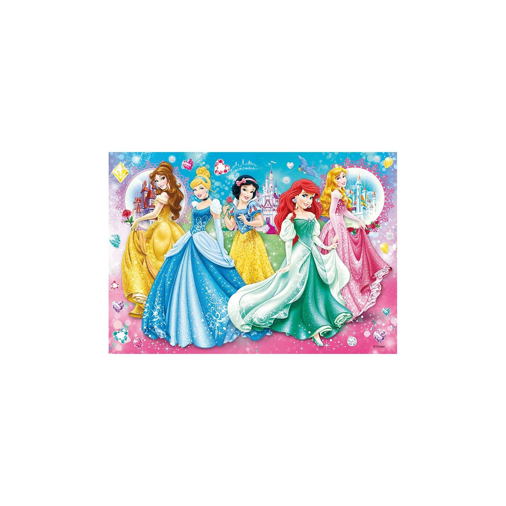 Clementoni® Puzzle mit Glitzersteinen - 104 Teile Princess: Twinkled Lad