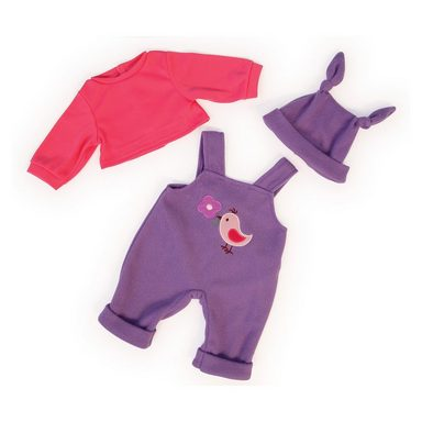 Bayer Puppenkleidung Latzhose, Shirt und Mütze lila-pink, 38cm