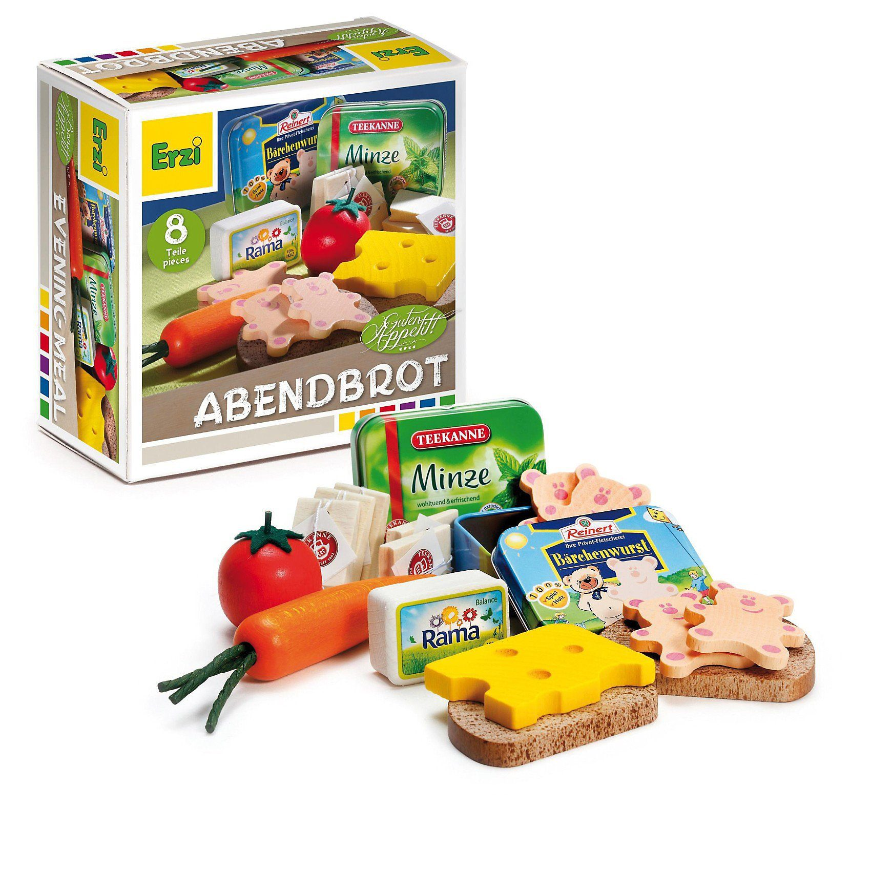 Erzi® Spiellebensmittel Sortierung Abendbrot aus Holz