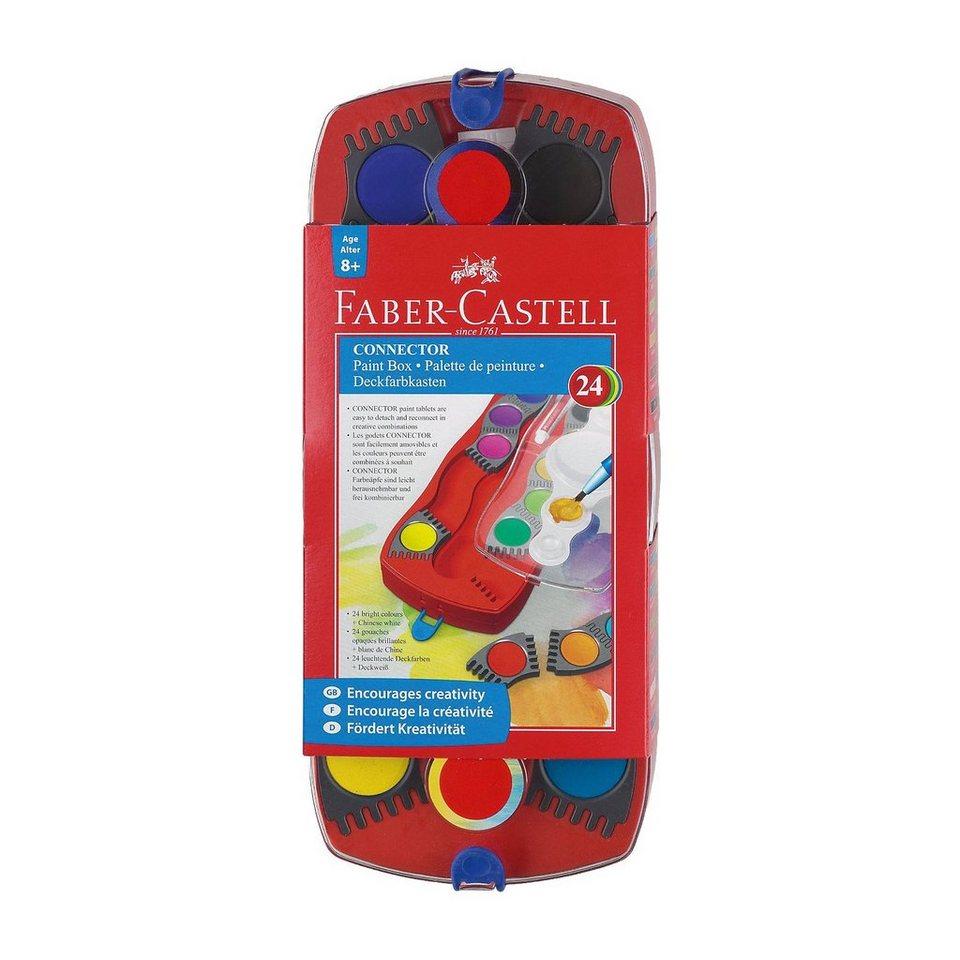 Faber-Castell CONNECTOR Deckfarbkasten, 24 Farben & Pinsel