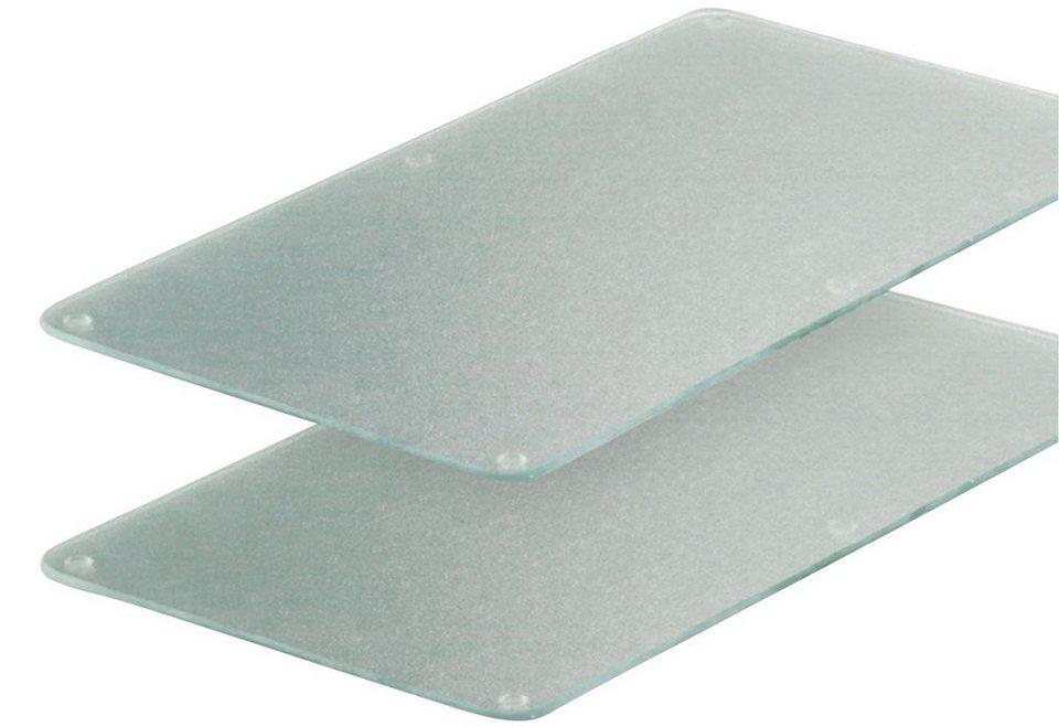 Herdabdeckplatten »Milchglas«, 2er-Set in grau