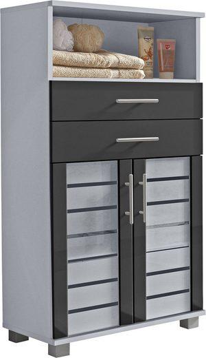 Schildmeyer Midischrank »Nikosia« Breite 60 cm, mit Glastüren, 2 Schubladen, hochwertige MDF-Fronten, Metallgriffe