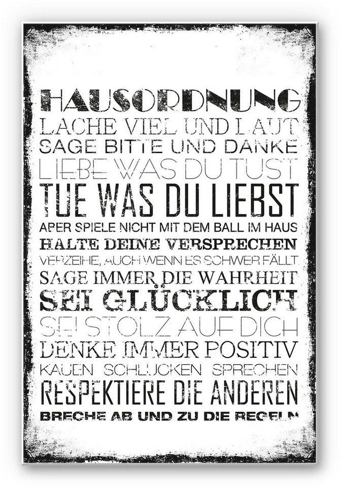 Hartschaum Wandbild, Home affaire,« Hausordnung«, 30/45 cm in Schwarz/Weiß