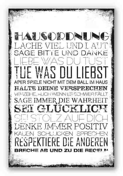 Home affaire Hartschaum Wandbild « Hausordnung«, in 3 Größen