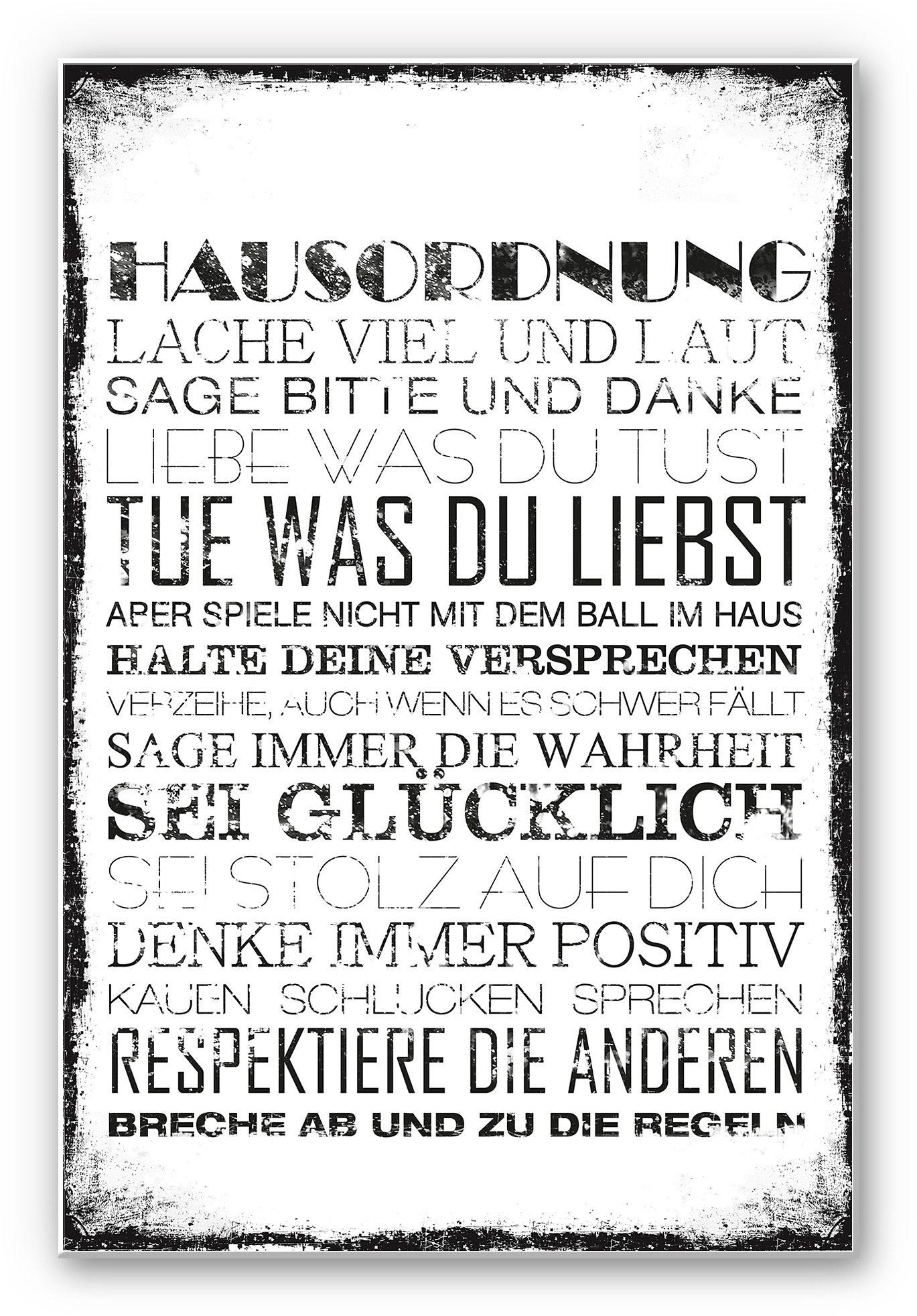 Home affaire Hartschaum Wandbild « Hausordnung«, 30/45 cm