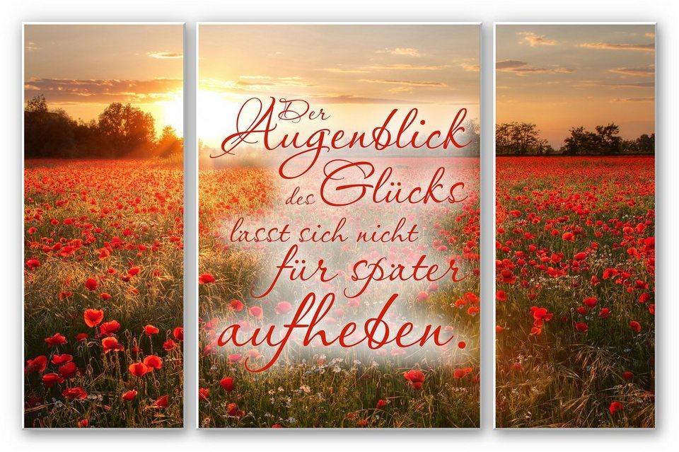 Hartschaum Wandbild, Home affaire, »Der Augenblick des Glücks (3-teilig)«, 2x 40/100 cm+ 70/100 cm in Rot