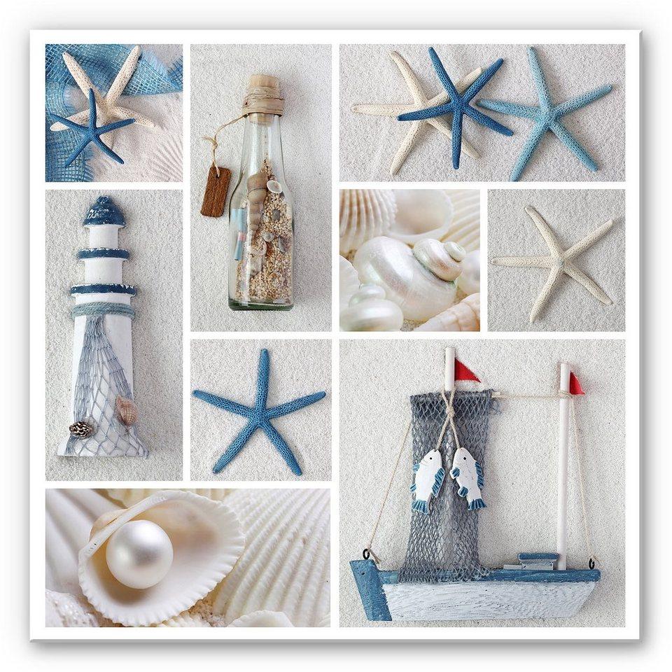 Hartschaum Wandbild, Home affaire,« Beach Collage«, 40/40 cm in Blau