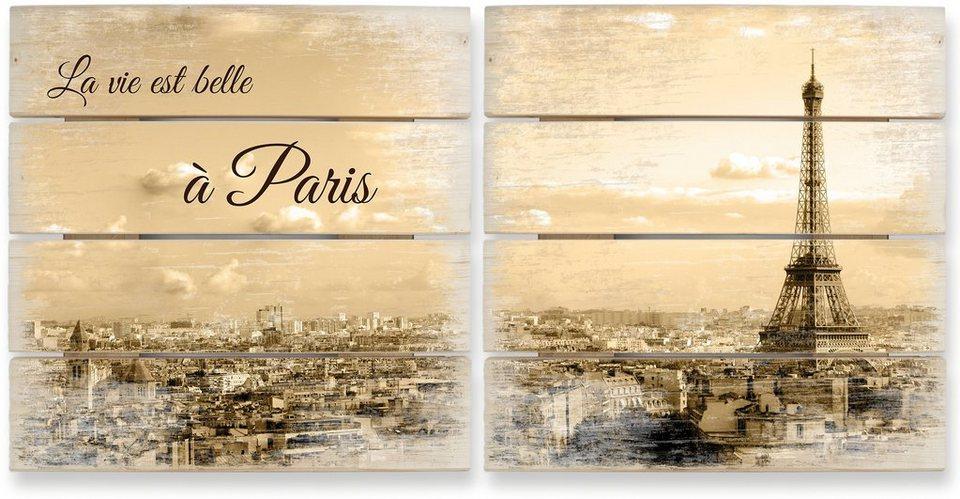 Holzbild, Home affaire, »Holzbild-Set Paris Skyline (2-tlg.)«, 40/41,5 cm in Sepia