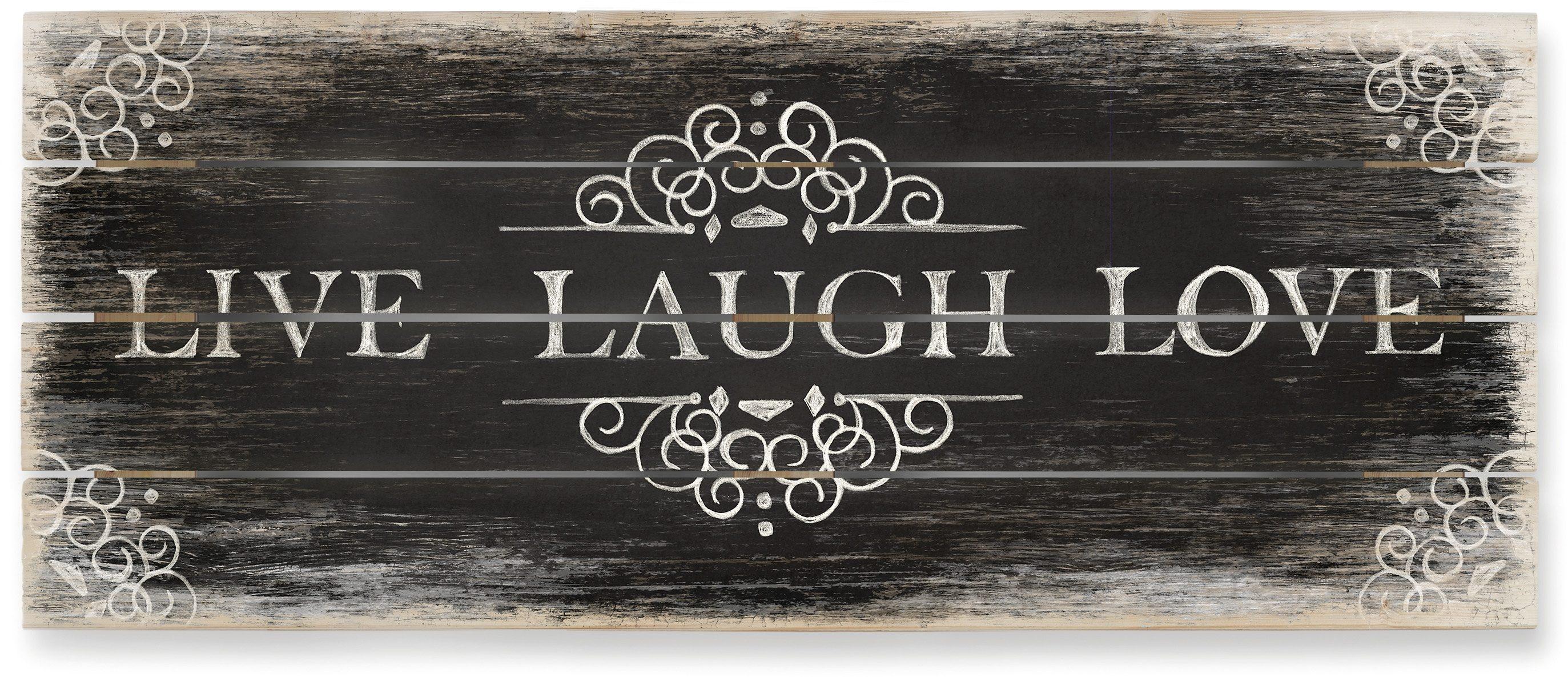 Holzbild, Home affaire, »Live Laugh Love 02 - Panorama«, 100/40 cm