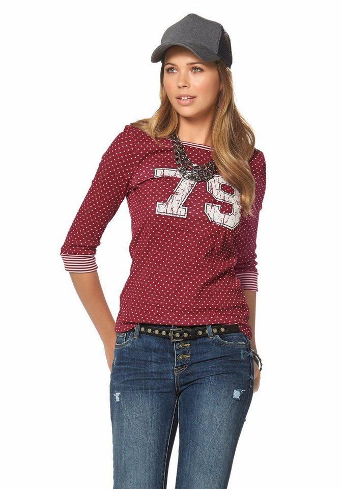 AJC 3/4-Arm-Shirt im College Look in bordeaux-ecru