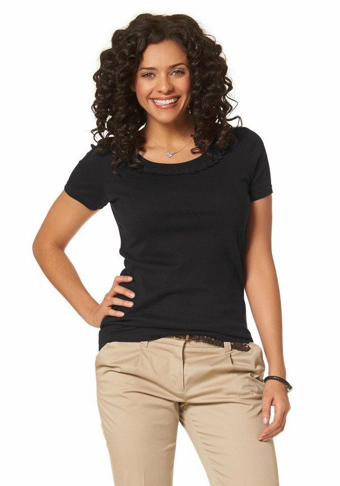 Boysen's T-Shirt mit feiner Rüschenbordüre in schwarz