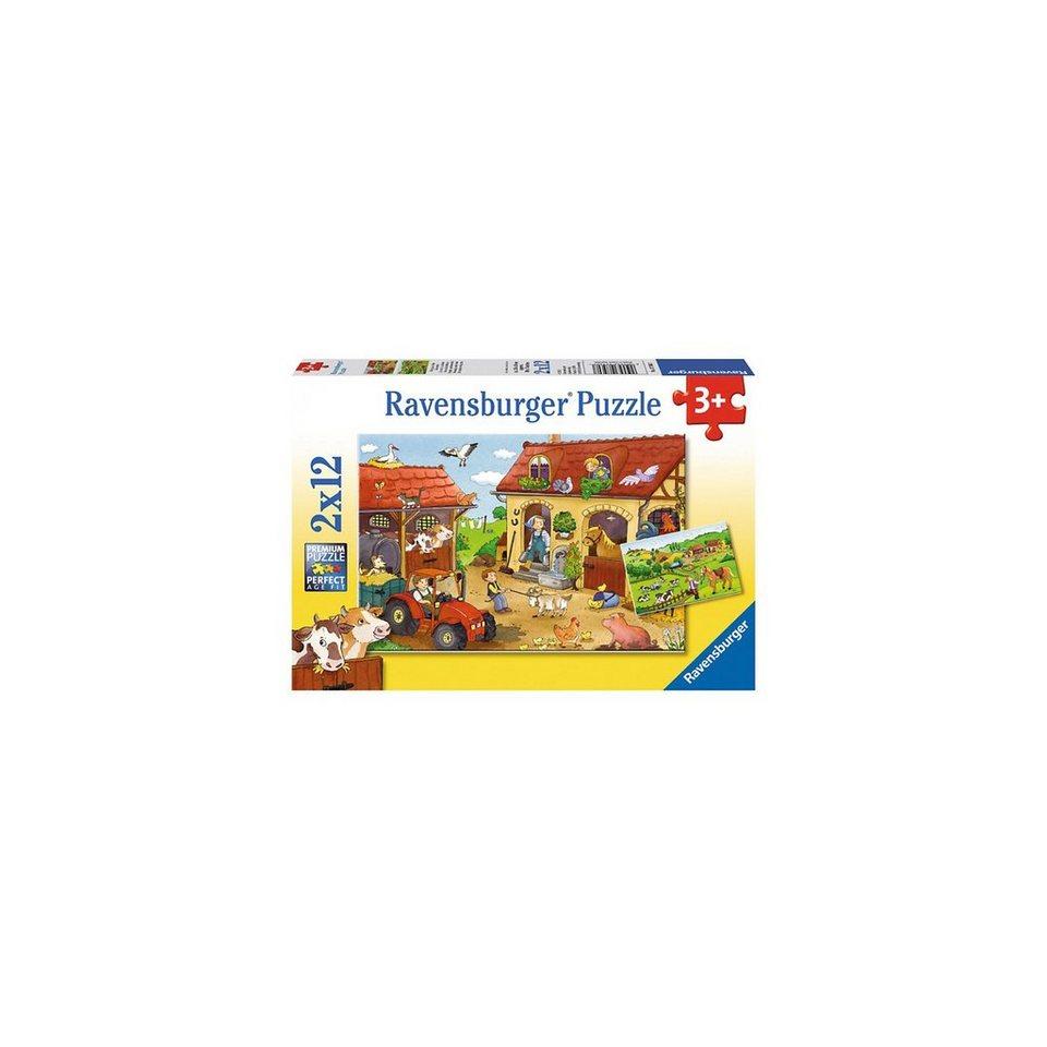 Ravensburger Puzzleset Fleißig auf dem Bauernhof 2 x 12 Teile