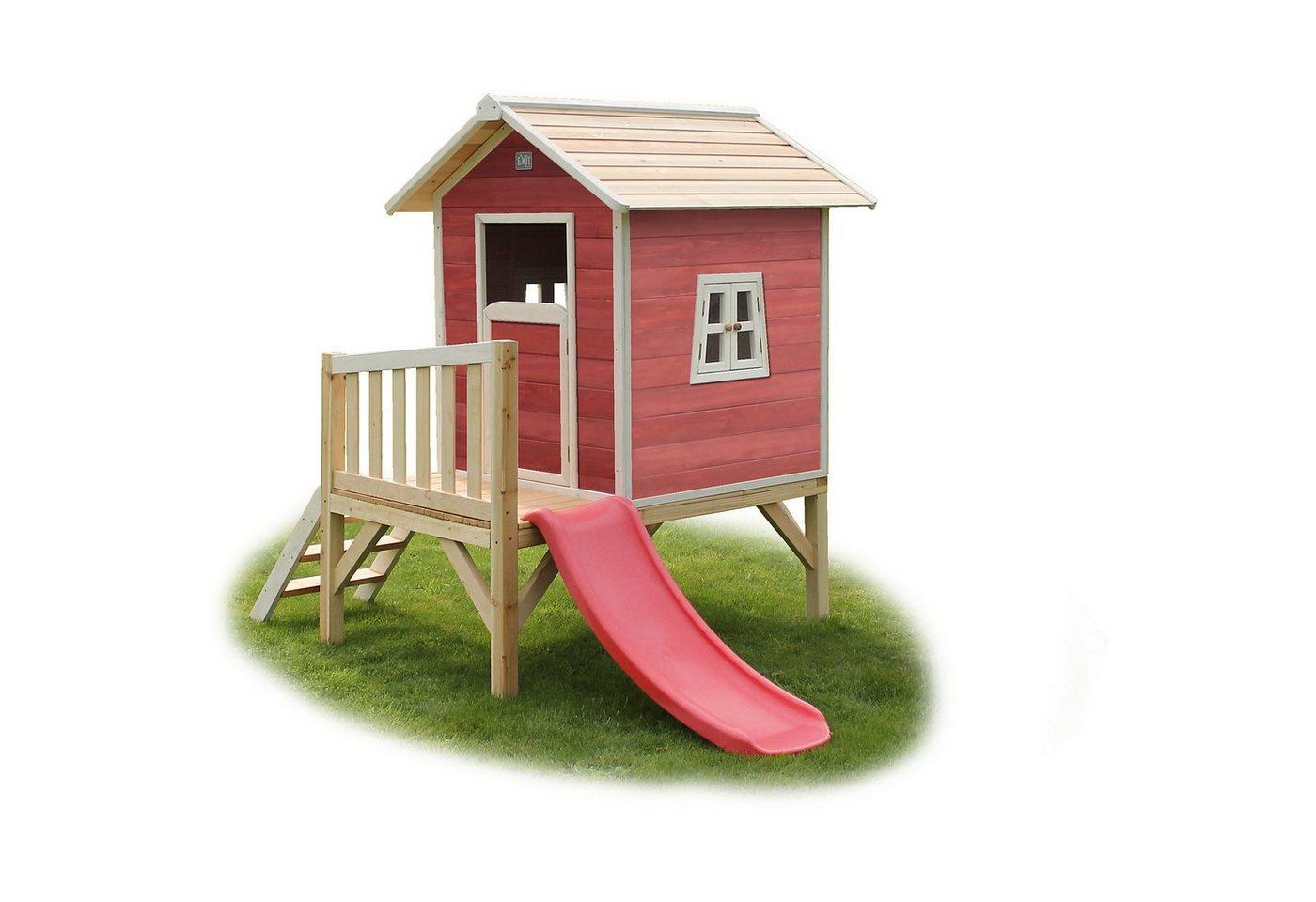 EXIT Spielhaus Beach Rotbraun auf Stelzen mit Rutsche, ca. 240x16