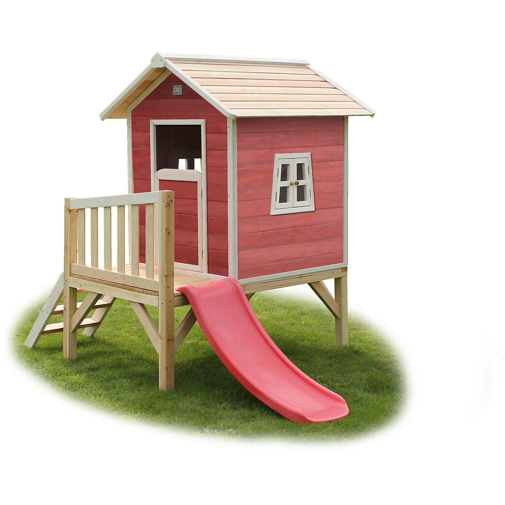 EXIT Spielhaus Beach Rotbraun auf Stelzen mit Rutsche, ca. 188 x