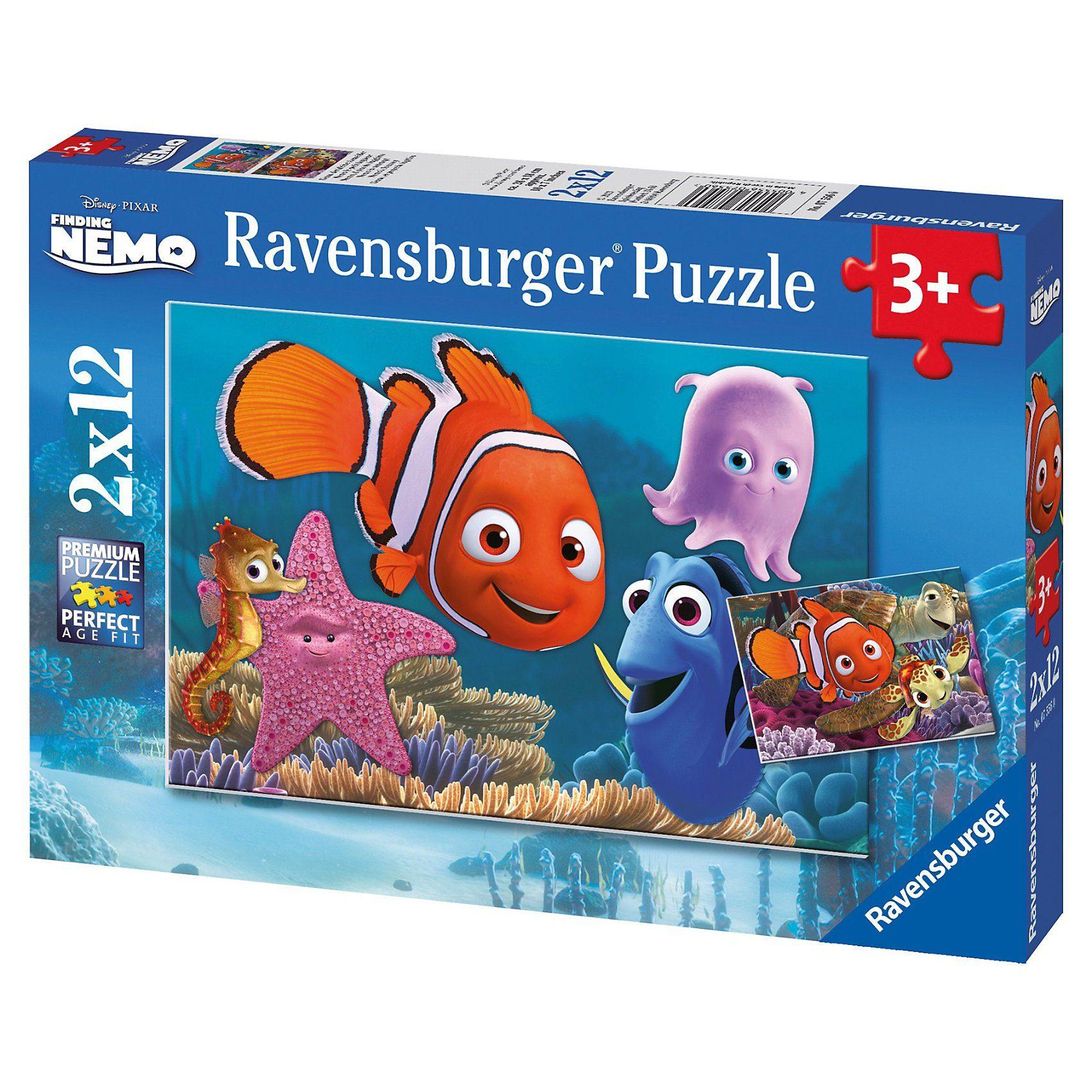 Ravensburger 2er Set Puzzle, je 12 Teile, 26x18 cm, Disney Finding Nemo