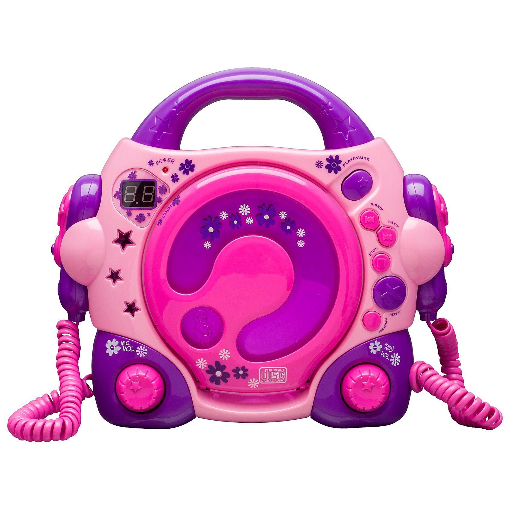 bigben CD-Player für Kinder mit 2 Mikrofonen, rosa/lila