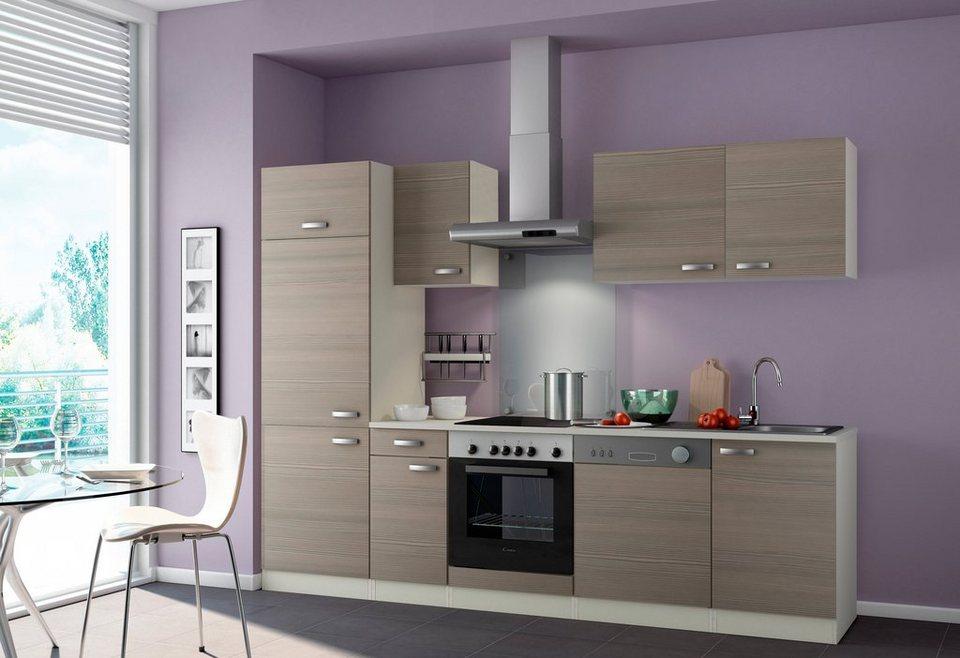 Küchenzeile ohne E-Geräte »Vigo«, Breite 210 cm in nougatfarben/champagnerfarben