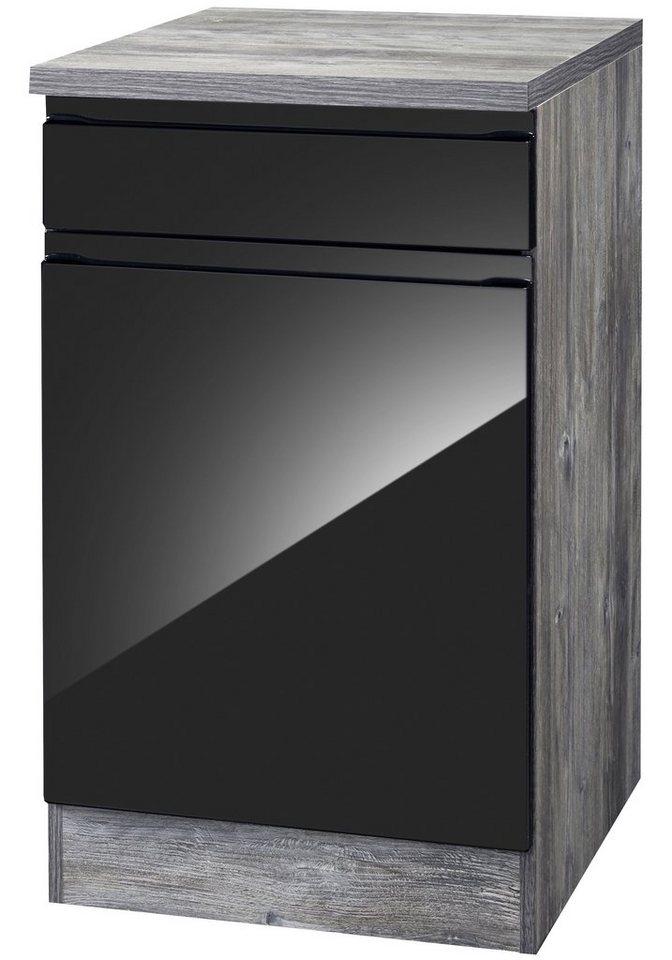 Küchenunterschrank »Virginia«, Breite 50 cm in schwarz/eichefarben vintage