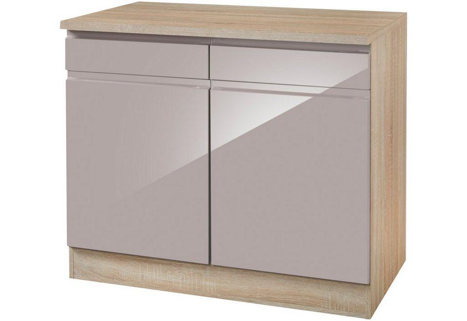Küchenunterschrank »Virginia«, Breite 100 cm in grau/eichefarben sonoma