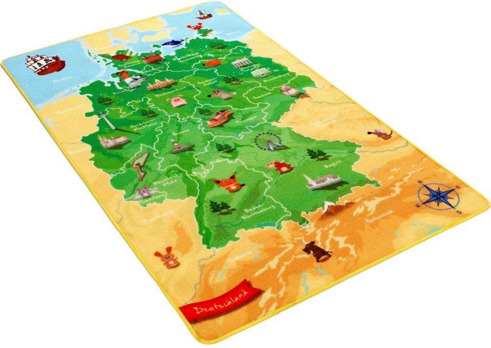 Kinder-Teppich, Böing Carpet, »Deutschlandkarte DE-2« in grün