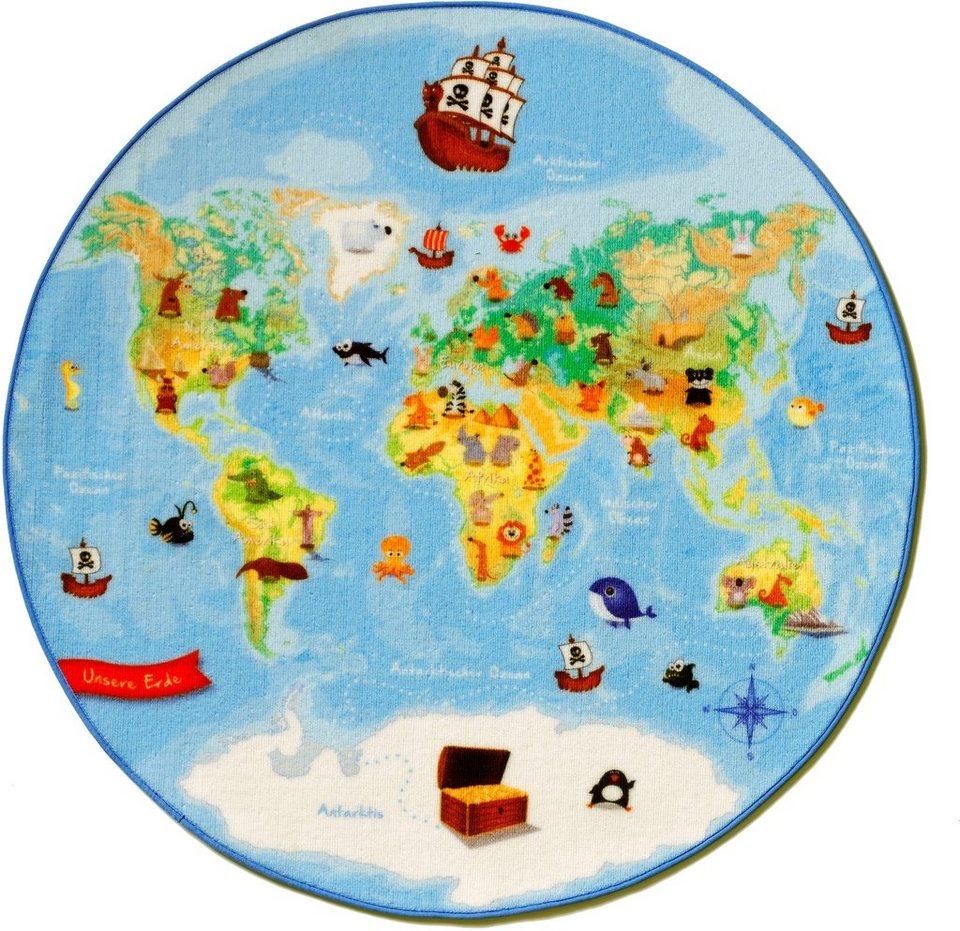 Kinder-Teppich, Böing Carpet, »Weltkarten W-1«, Rund in blau