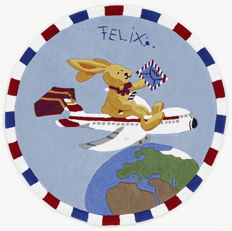 Teppich, Rund, »Felix der Hase FE-2934-01«, handgetuftet, Konturenschnitt, Brilliante Farben